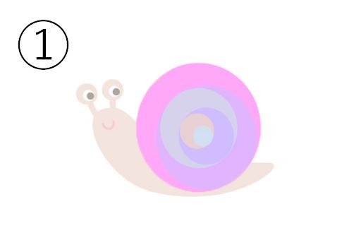 ピンク、紫、オレンジ、グレーの殻のカタツムリ