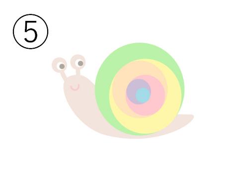 黄緑、黄色、オレンジ、ピンク、紫、水色の殻のカタツムリ