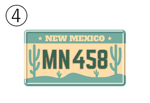 NEWMEXICO、MN458と書かれた、背景がサボテンのエメラルドとベージュのナンバープレート