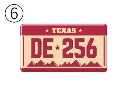 TEXAS、DE256と書かれた、背景が山脈の赤とベージュのナンバープレート