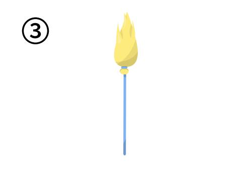 細い水色の柄に、黄色い穂先のほうき