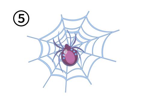 紫の蜘蛛と蜘蛛の巣