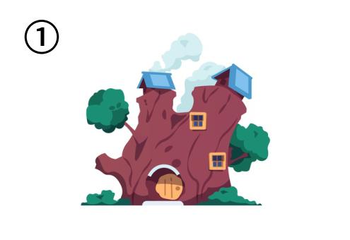 木をくり抜いてできた家