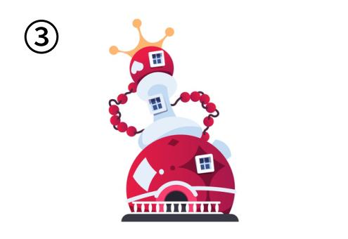 赤と白の丸でできた家