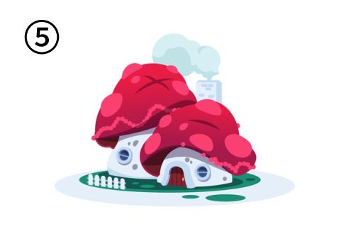 溶け気味の、傘の赤いキノコのような家