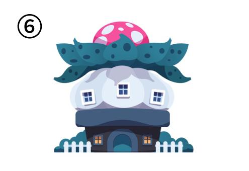 白ドット柄のピンクの植物が上にのった家
