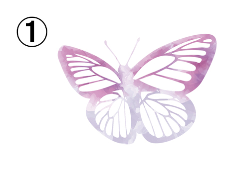 紫、赤紫のグラデーションの線の蝶