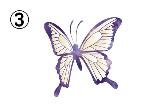 紫の線、淡い黄色の蝶