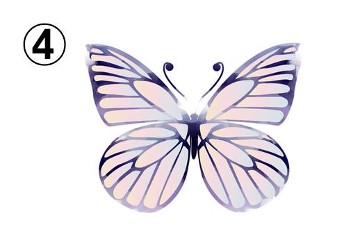 黒い線で、ピンク、紫のグラデーションの蝶