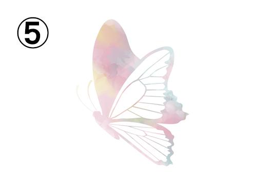 黄色、紫、ピンク、緑の淡いグラデーションの蝶