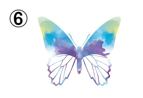黄色、緑、水色、紫のグラデーションの蝶