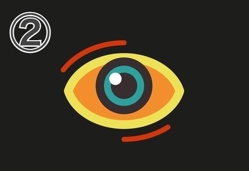 黄色い縁、黒と緑の瞳、周囲に赤線、白目部分がオレンジの目