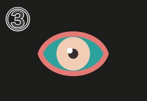 コーラルの縁、ベージュの瞳、白目部分が緑の目