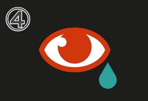 縁と瞳が赤い、右下に雫のある目
