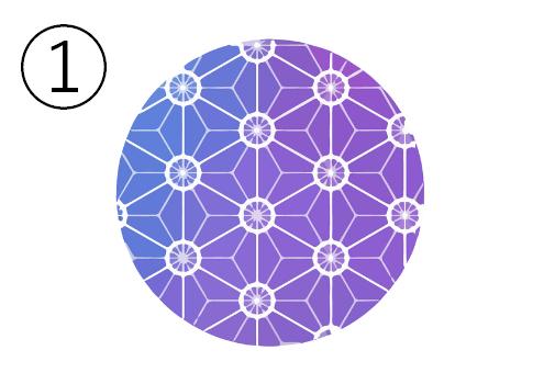 桜柄、青と紫のグラデーションの丸
