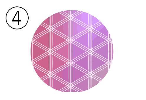 胡麻柄、紫、赤紫のグラデーションの丸