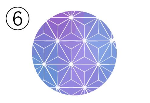 麻の葉柄、青と紫のグラーデーションの丸