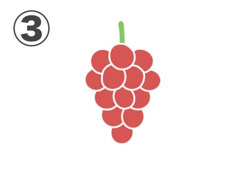 赤い房の大粒のブドウ
