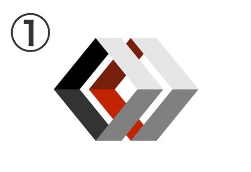 黒、白、赤のダイヤ型の隙間の空いた筒状二連シンボル