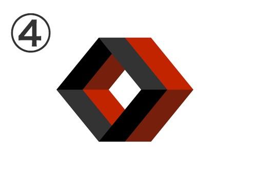黒、赤のダイヤ型の隙間のない筒状二連シンボル