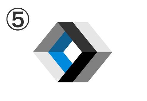 白、水色、黒のダイヤ型の隙間のない筒状二連シンボル