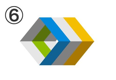 水色、白、黄色、黄緑のダイヤ型の隙間のない筒状三連シンボル