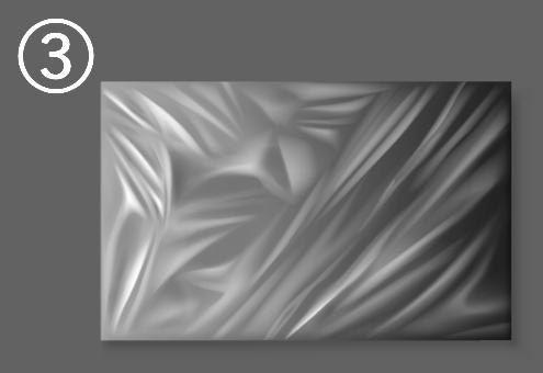右側は斜めのシワ、左側はダイヤカットのようなシワのラップ
