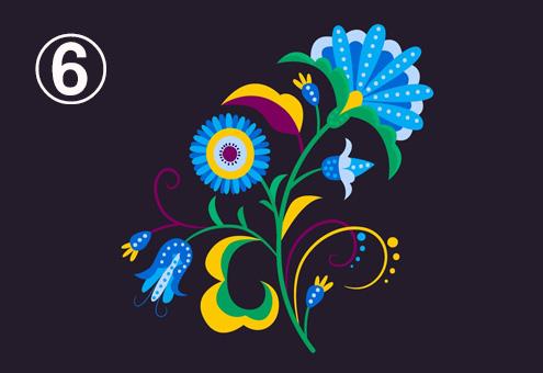 ふわふわした、水色メインの、黄色、茶色、紫、緑の花