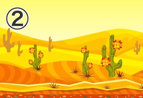 花の咲いたサボテンがある、黄色い砂漠の風景