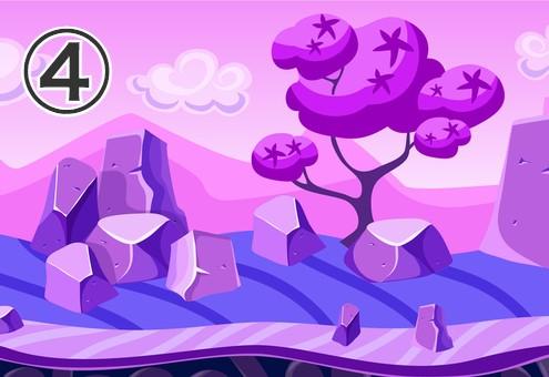 星柄の気がある、岩場の多い紫の風景