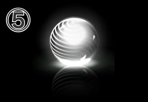 複数の線がある球体