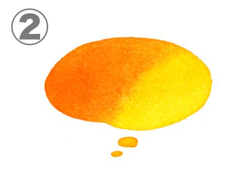 オレンジ、黄色のグラデーションの想像吹き出し