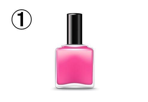 四角いピンクのネイルボトル