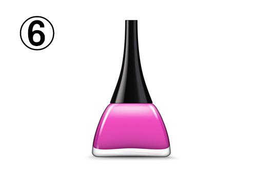 曲線を描いた三角形の、ピンク紫のネイルボトル