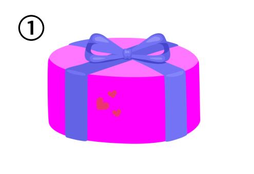 紫リボンで、ハートのシール付きの丸いピンクのプレゼント