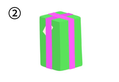 ピンクリボンで、縦長の緑のプレゼント