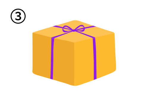 細紫リボンで、高さのあるオレンジのプレゼント