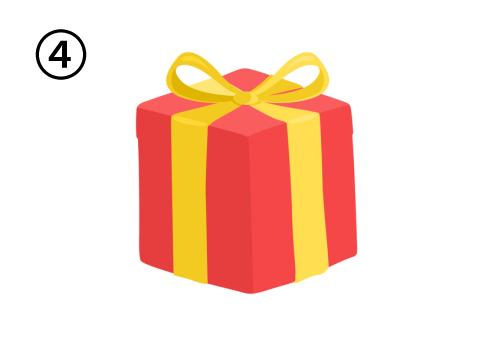 黄色リボンで、高さのある赤いプレゼント