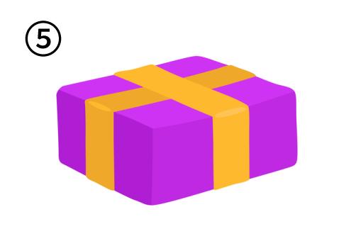 オレンジ太リボンで、横長の紫のプレゼント