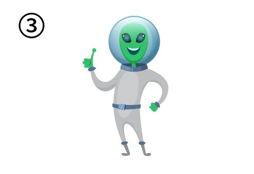 人差し指を立ててひらめいた顔をしている宇宙人