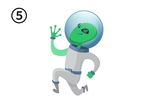 走るポーズをしてジャンプをする宇宙人