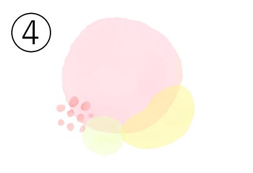 重なったピンク丸と黄色楕円とクリーム色丸、左下に赤い点々の水彩の図