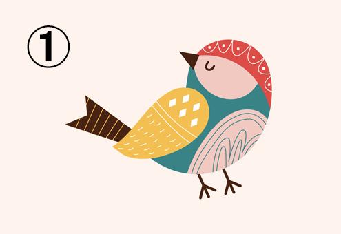 ベージュと緑多め、黄色、赤、茶色の鳥