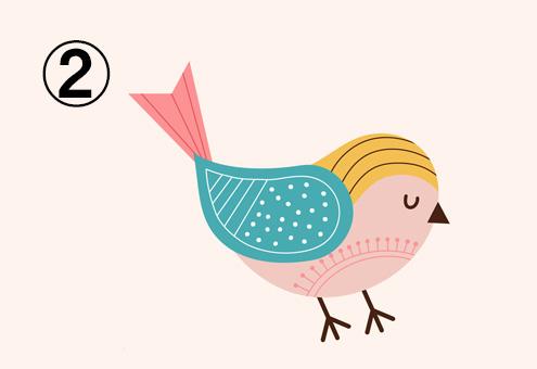 ベージュ、黄色、エメラルド、ピンクの鳥