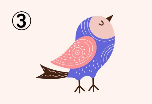 紫多め、ピンク、茶色、ベージュの鳥