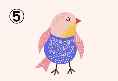 紫多め、ベージュ、赤、ピンク、黄色の鳥