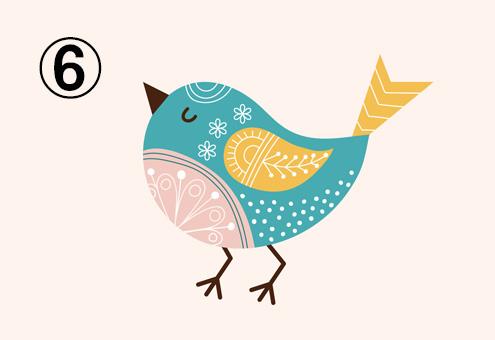 エメラルド多め、黄色、ベージュの鳥