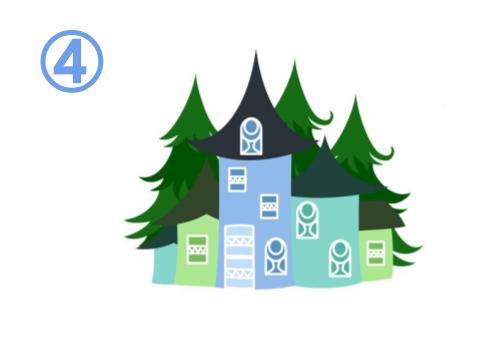 奥に森のある、緑、黄緑、青の3階建ての家