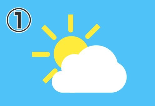 太めの線が伸びた太陽と雲