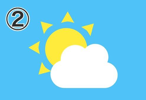 三角が伸びた太陽と雲